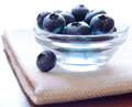 Heap of ripe blueberries in the glass bowl Royalty Free Stock Photo
