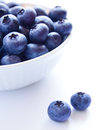 Heap of ripe blueberries in the white bowl on the white background Stock Photography