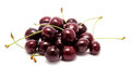Heap of ripe sweet cherry isolated on a white background Royalty Free Stock Photography