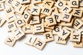 Heap of scrabble tile letters from above Royalty Free Stock Photo