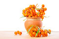 Heap of sea buckthorn berries twigs in vintage ceramic pot is is