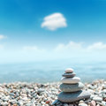 Heap of stones like zen near sea soft focus Royalty Free Stock Photography