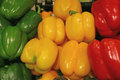Heap of Vibrant Green, Yellow, Red Color Fresh Bell Peppers Royalty Free Stock Photo