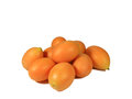 Heap of Vibrant Orange Yellow Fresh Ripe Marian Plum or Ma-Prang Fruits Isolated on White Background, with Free Space for Text Royalty Free Stock Photo