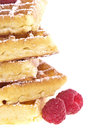 Heap of waffles with raspberries Stock Photo