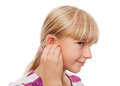 Hearing Aid and a girl Royalty Free Stock Image