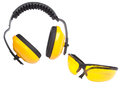 Hearing protection ear muffs and eyewear with clipping paths Royalty Free Stock Photo