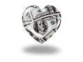 Heart with 100 dollar bills Stock Photography