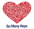 Heart_with_3D keys Royalty Free Stock Photos