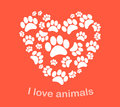 Heart Animal's Footprints Vect...