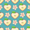 Heart of Apple and flowers in seamless pattern Royalty Free Stock Image