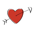 Heart arrow red pierced with Royalty Free Stock Photo