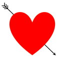 Heart with arrow red pierced one black in white background Stock Photo