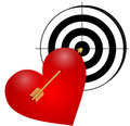 Heart with arrow and a target illustration of an the on white background Royalty Free Stock Photo