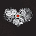 Heart as a mechanism made of cogs and gears. Vector Illustration of steampunk heart. Valentines day card