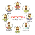 Heart attack warning signs colored vector line style icons set Royalty Free Stock Photo