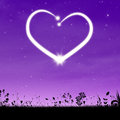 Heart background abstract night sky with shiny Stock Image