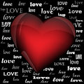 Heart on the background of the word love written in different fonts Royalty Free Stock Photos