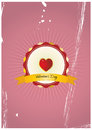 Heart badge illustration of valentine s day with Stock Photo