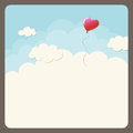 Heart balloon in the sky vector illustration Royalty Free Stock Image