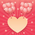 Heart and balloon on starburst background Royalty Free Stock Photo
