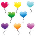 Heart balloons eight vector colored Royalty Free Stock Photography