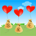 Heart balloons with money bags in currencies Stock Photos