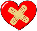 Heart with band aid vector drawing of a Royalty Free Stock Photography