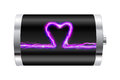 Heart battery with shaped pink spark illustration Royalty Free Stock Photography