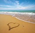 Heart on beach. Royalty Free Stock Photo