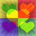 Heart, beams, rectangles grunge background.