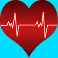 Heart beat on heart shape Stock Photo