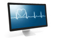 Heart beat online graph in computer monitor isolated on a white background Stock Photos