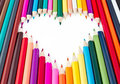 The heart of the beautiful colored pencils Royalty Free Stock Images