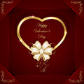 Heart with beige bow red valentines background golden and illustration Stock Images