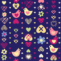 Heart bird flower seamless pattern on dark background.