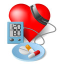 Heart blood pressure monitor and pills Stock Photos