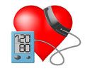 Heart blood pressure monitor and on a white background Stock Photo
