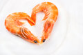 Heart of boiled shrimp Royalty Free Stock Photo