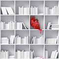 Heart on the bookshelves Stock Photos