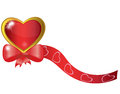Heart with a bow and ribbon Royalty Free Stock Photography