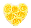Heart (box) from yellow flower soap Royalty Free Stock Photo