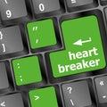 Heart breaker word on keyboard key, love concept Royalty Free Stock Photo