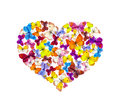 Heart with bright butterflies. Watercolor Royalty Free Stock Photo