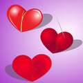 Heart broken and restored a set in a vector red hearts the stuck together the sewed the clasped Stock Image