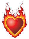 Heart burn illustration of a red shape with flames could represent or hot flaming love or passion Stock Photo