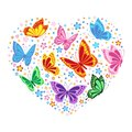 Heart of butterflies and flowers Royalty Free Stock Photo