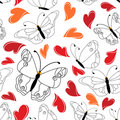 Heart and butterfly seamless pattern Royalty Free Stock Photo