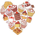 Heart of cakes vector made sweets Stock Images