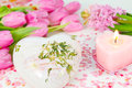 Heart candle and flowers decoration Royalty Free Stock Photo